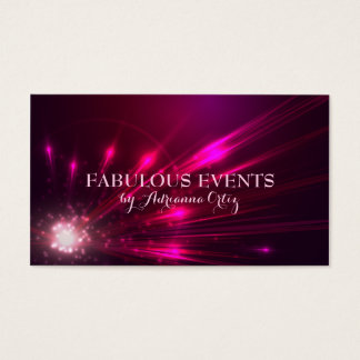 Hot Pink Magenta Lights Fireworks Neon Business Card