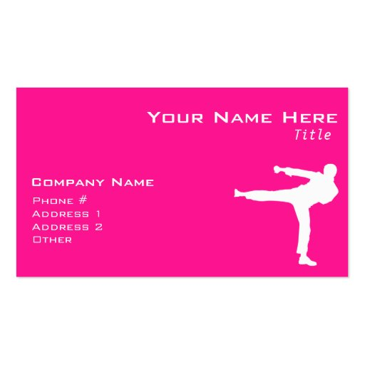 Hot Pink Martial Arts Business Card Template