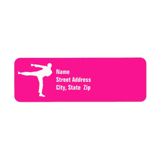 Hot Pink Martial Arts Return Address Label