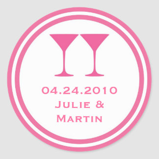 Hot pink martini wedding favor tag seal label round sticker