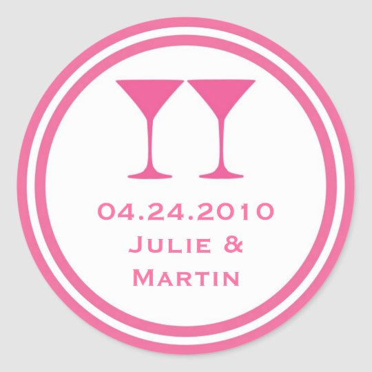 Hot pink martini wedding favour tag seal label round sticker