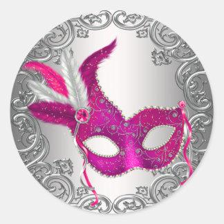 Hot Pink Mask Masquerade Envelope Seal Favor