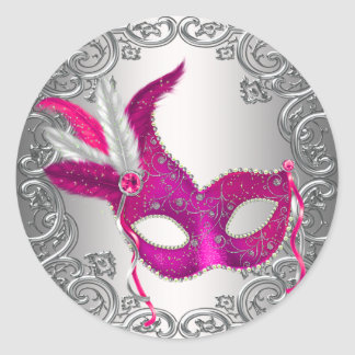 Hot Pink Mask Masquerade Envelope Seal Favor Round Sticker