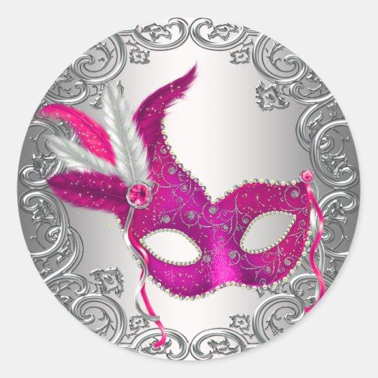 Hot Pink Mask Masquerade Envelope Seal Favour
