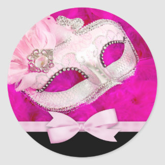Hot Pink Masquerade Party Stickers