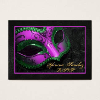 Hot Pink  Masquerade RSVP Business Cards