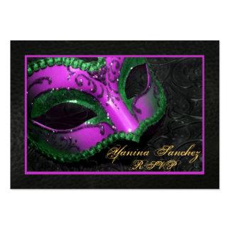 Hot Pink  Masquerade RSVP Business Cards
