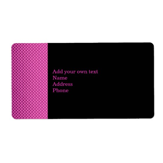 Hot Pink Metal Glitter Black Label Gift Sticker