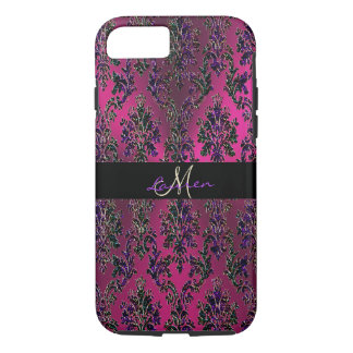 Hot Pink Metallic Vintage Modern Damask Monogram iPhone 8/7 Case