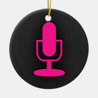 Hot Pink Microphone Christmas Ornament