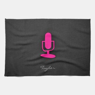 Hot Pink Microphone Tea Towel