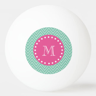 Hot Pink, Mint Green Chevron | Your Monogram Ping Pong Ball