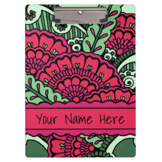 Hot Pink Mint Green Zen Mandala Art Classroom Name Clipboards