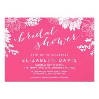 Hot Pink Modern Floral Bridal Shower Card