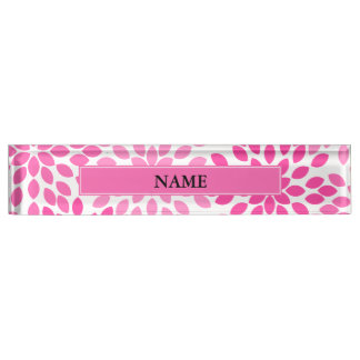 Hot Pink Modern Floral Pattern Name Plate