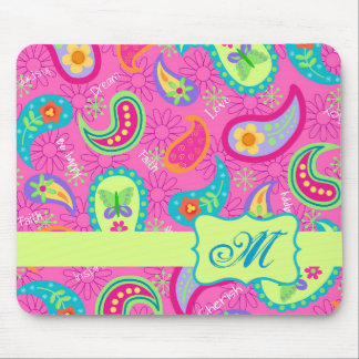 Hot Pink Modern Paisley Monogram Initial Mouse Pad