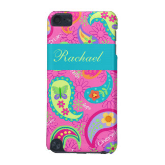 Hot Pink Modern Paisley Name Personalized iPod Touch (5th Generation) Covers