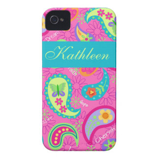 Hot Pink Modern Paisley Name Personalized iPhone 4 Cover
