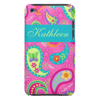 Hot Pink Modern Paisley Name Personalized iPod Case-Mate Cases