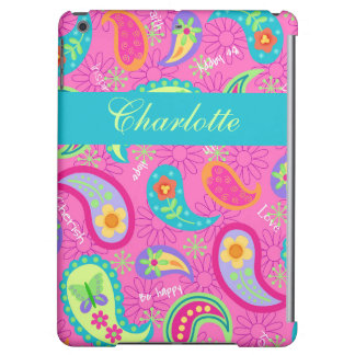 Hot Pink Modern Paisley Name Personalized iPad Air Cover