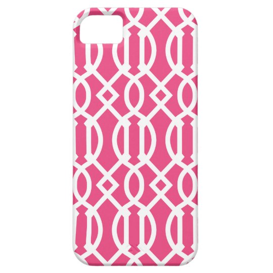 Hot Pink Modern Trellis Pattern Barely There iPhone 5 Case