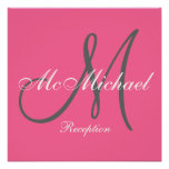 Hot Pink Monogram and Name Wedding Reception Sign Posters