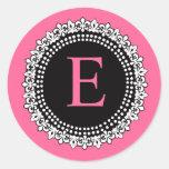 Hot Pink Monogram E Fleur de Lis Wedding Sticker