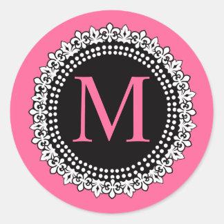 Hot Pink Monogram M Fleur de Lis Wedding Sticker