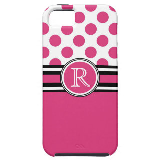 Hot Pink Monogram Polka Dots iPhone 5 Cases