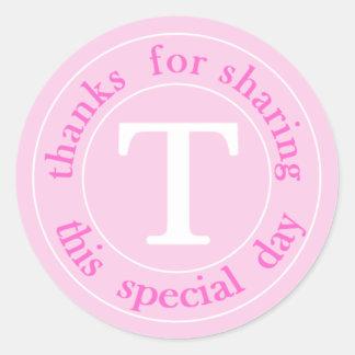 Hot Pink Monogram Wedding Thank You Sticker