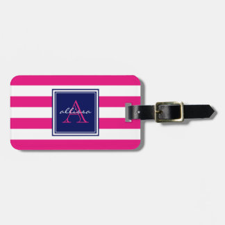 Hot Pink Monogrammed Awning Stripe Luggage Tag