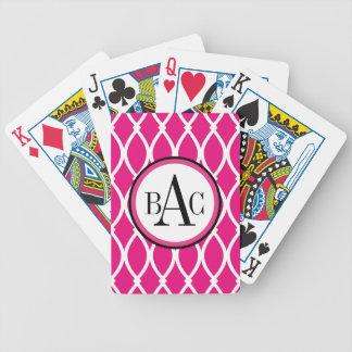 Hot Pink Monogrammed Barcelona Print Poker Deck