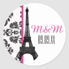 Hot Pink Monogrammed Damask Eiffel Tower Wedding Classic Round Sticker