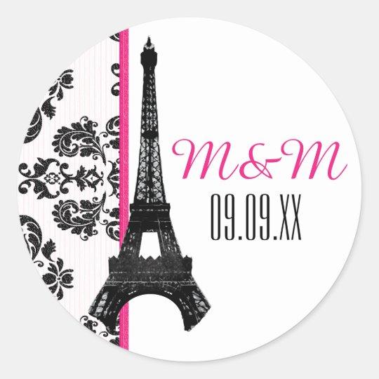 Hot Pink Monogrammed Damask Eiffel Tower Wedding Classic