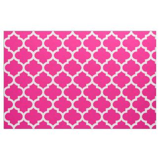 Hot Pink Moroccan Quatrefoil Trellis Fabric