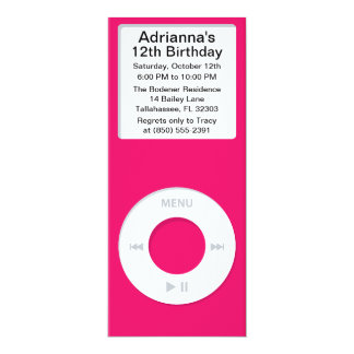 Hot Pink MP3 Player iParty Birthday Party Announcements