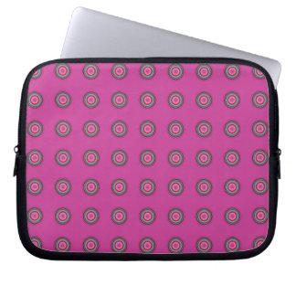 Hot Pink Multicolored Circular Pattern Laptop Sleeve