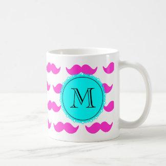 Hot Pink Mustache Pattern, Aqua Black Monogram Basic White Mug
