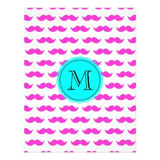 Hot Pink Mustache Pattern, Aqua Black Monogram Custom Flyer