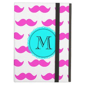 Hot Pink Mustache Pattern, Aqua Black Monogram iPad Air Case