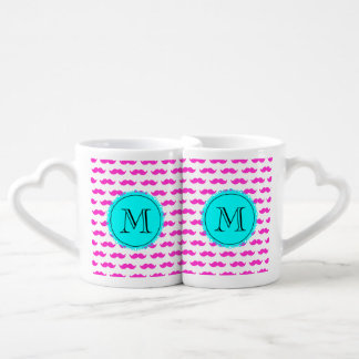Hot Pink Mustache Pattern, Aqua Black Monogram Lovers Mug