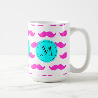 Hot Pink Mustache Pattern, Aqua Black Monogram Mug