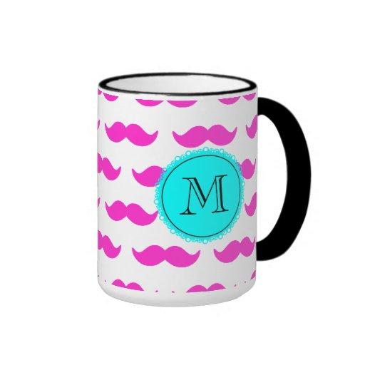 Hot Pink Mustache Pattern, Aqua Black Monogram Coffee Mug