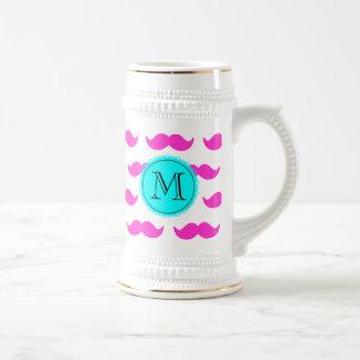 Hot Pink Mustache Pattern, Aqua Black Monogram Beer Steins