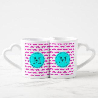 Hot Pink Mustache Pattern, Aqua Black Monogram Couples Mug