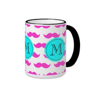 Hot Pink Mustache Pattern, Aqua Black Monogram Ringer Mug