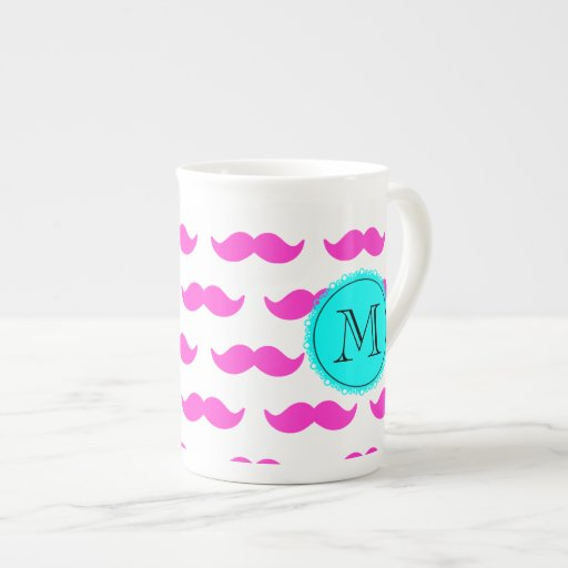 Hot Pink Mustache Pattern, Aqua Black Monogram Bone China Mug