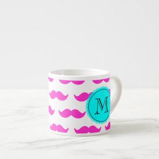 Hot Pink Mustache Pattern, Aqua Black Monogram Espresso Cups