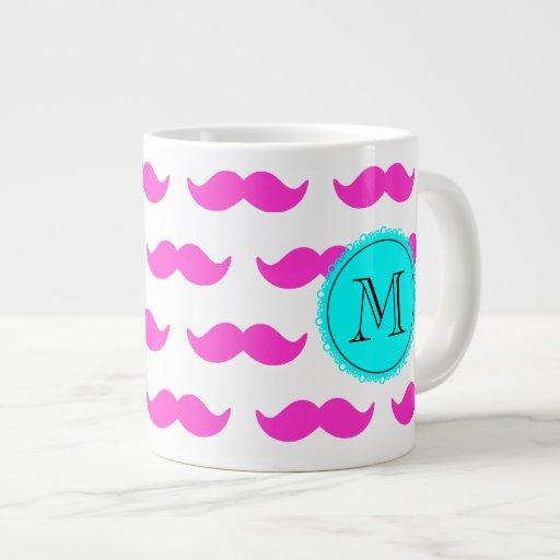 Hot Pink Mustache Pattern, Aqua Black Monogram Jumbo Mugs