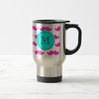 Hot Pink Mustache Pattern, Aqua Black Monogram Stainless Steel Travel Mug